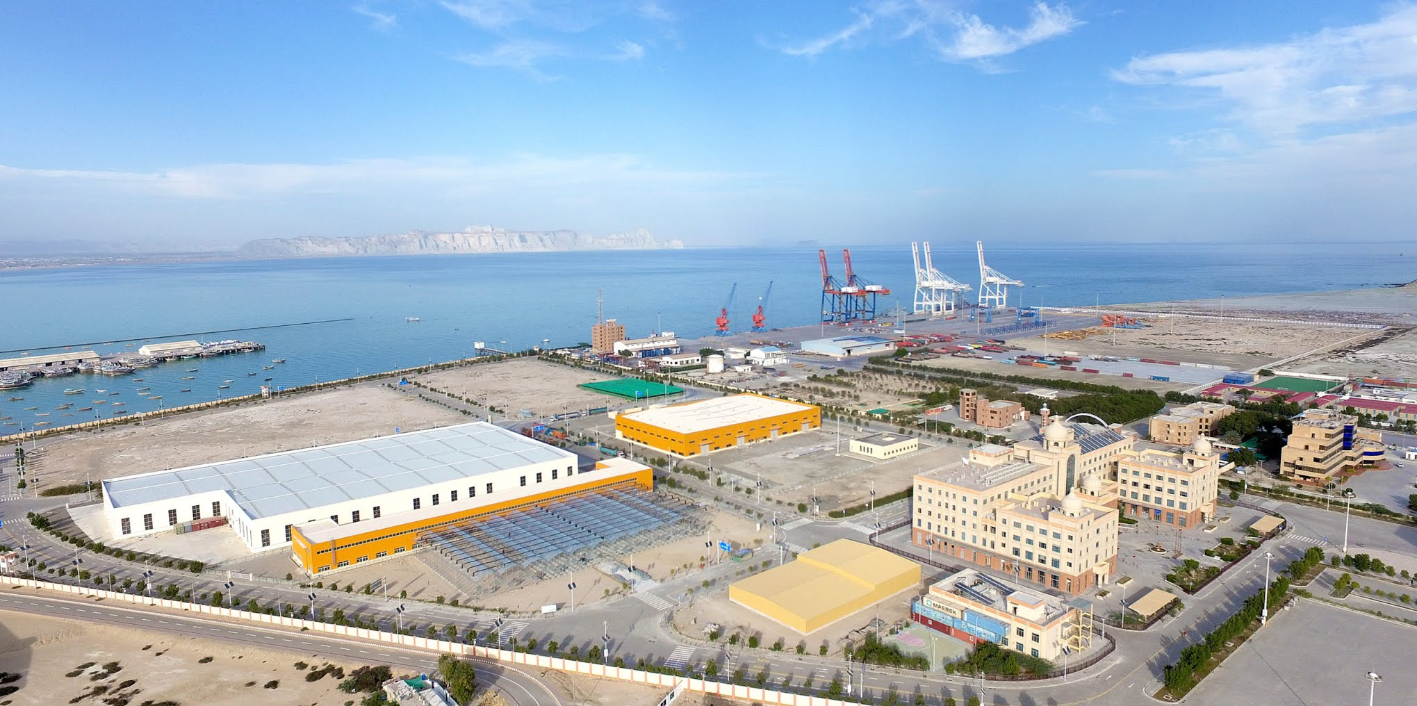 The Gwadar Free Zone and port area. Business was slow at the port when The Third Pole visited in April 2021. (Image: Shabbir Ahmed)